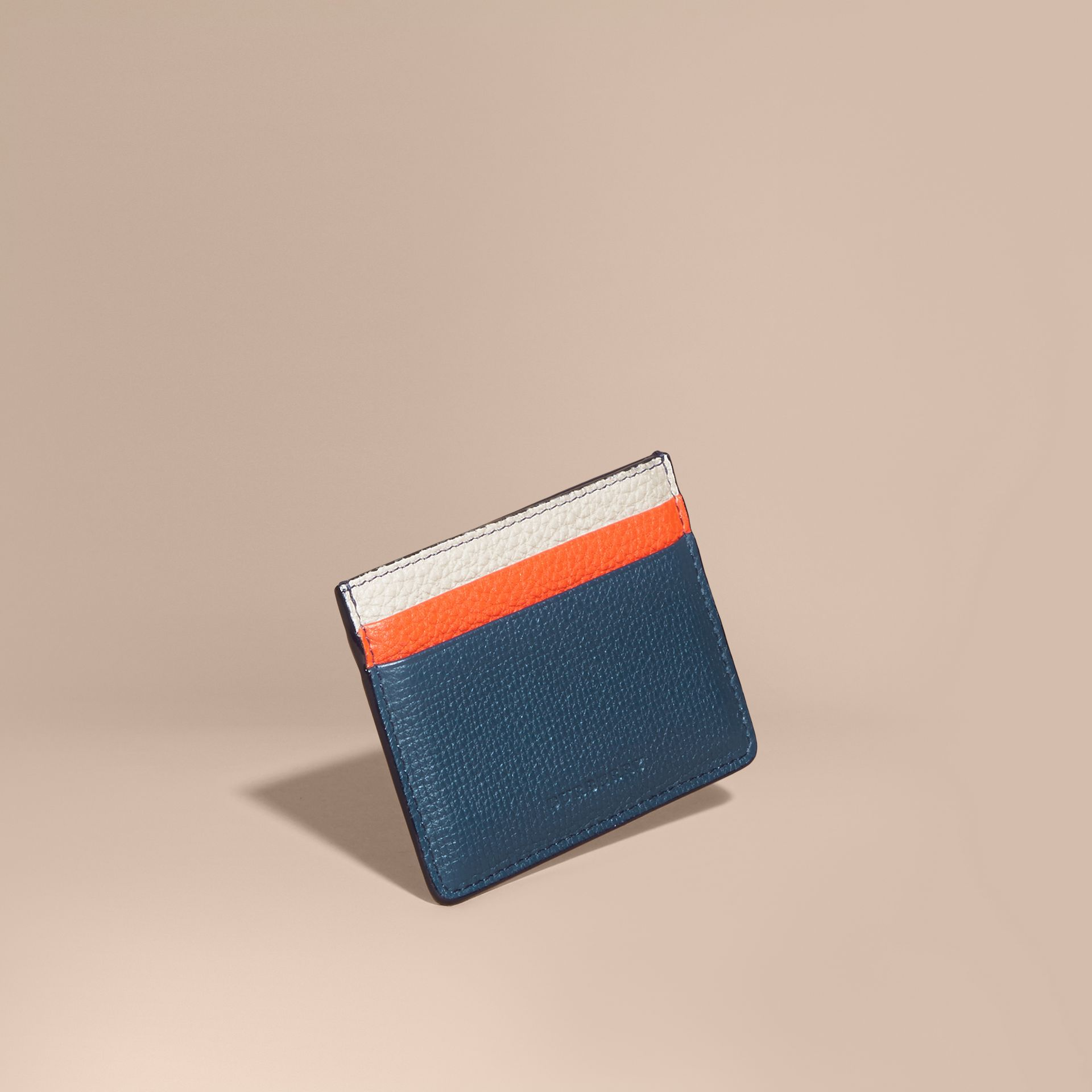 Marine blue Colour Block Leather Card Case - gallery image 1