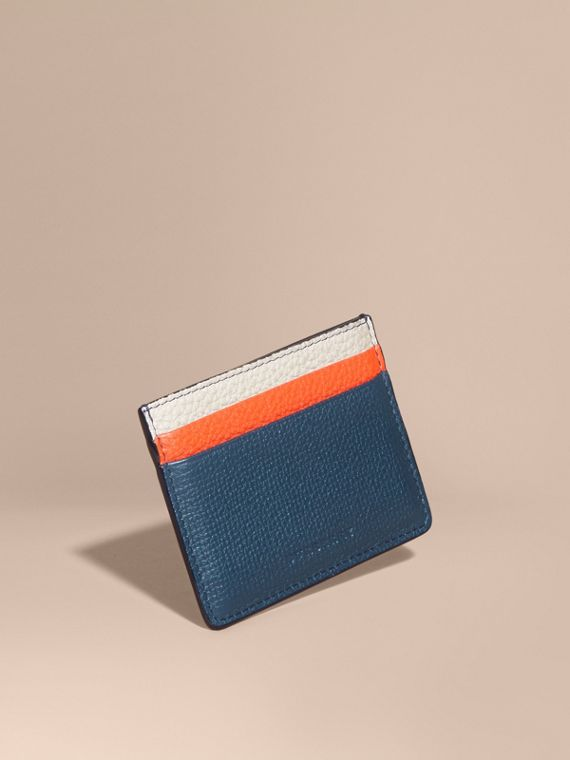 Colour Block Leather Card Case in Marine Blue