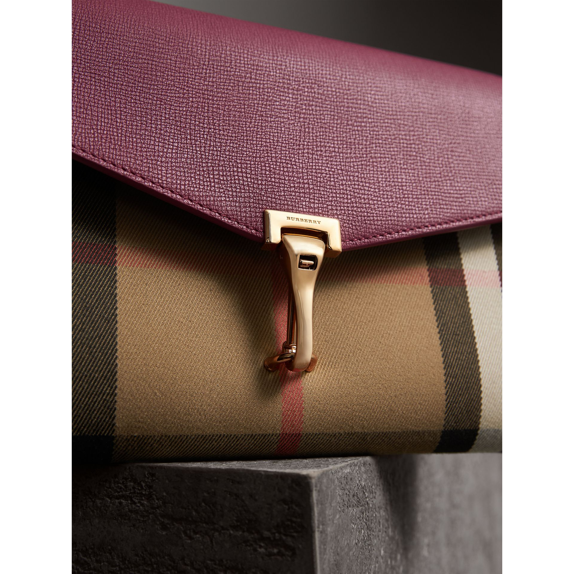 Small Leather and House Check Crossbody Bag in Berry Pink - Women | Burberry - gallery image 1