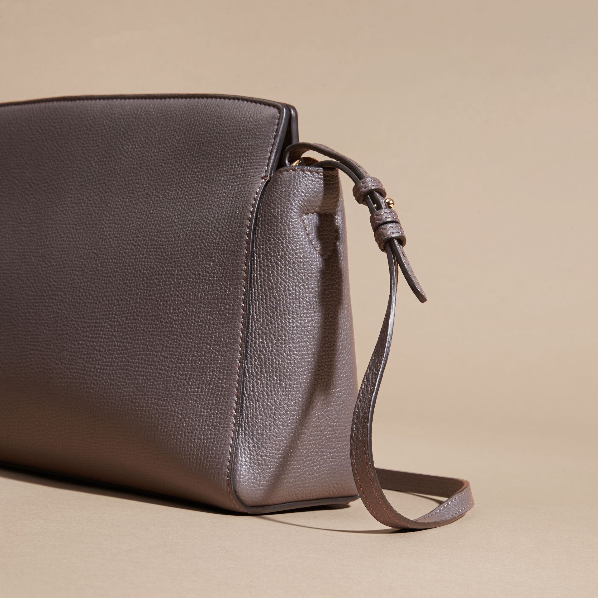 Sepia grey The Saddle Clutch in Grainy Bonded Leather Sepia Grey - gallery image 4