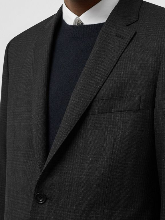 Slim Fit Prince of Wales Check Wool Suit in Dark Grey - Men | Burberry Australia - cell image 1