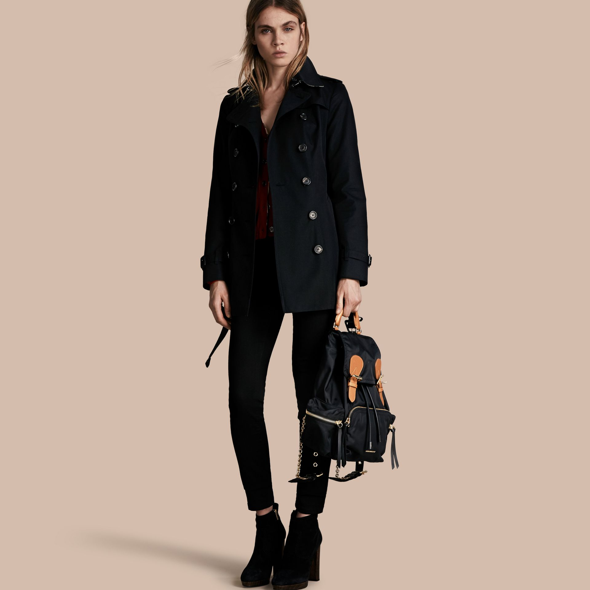 Black The Sandringham – Short Heritage Trench Coat Black - gallery image 1