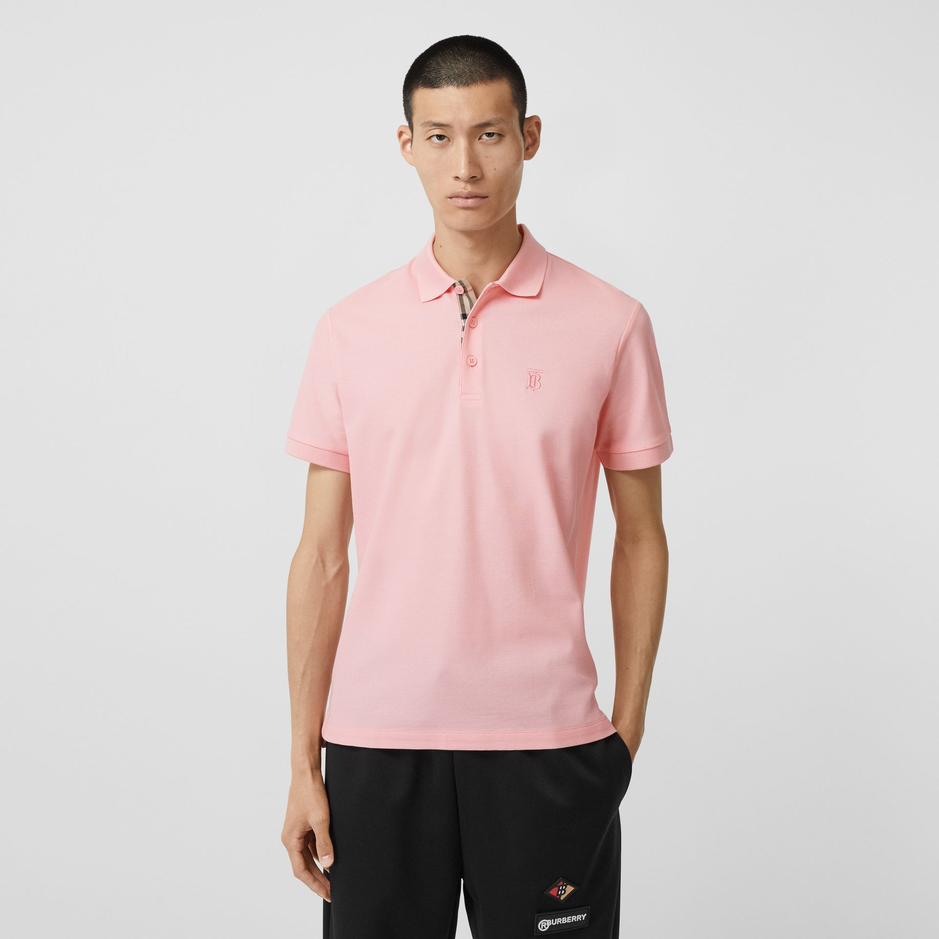 Monogram Motif Cotton Piqué Polo Shirt in Candy Pink - Men | Burberry - gallery image 4