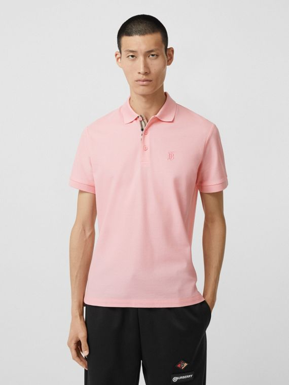 Monogram Motif Cotton Piqué Polo Shirt in Candy Pink