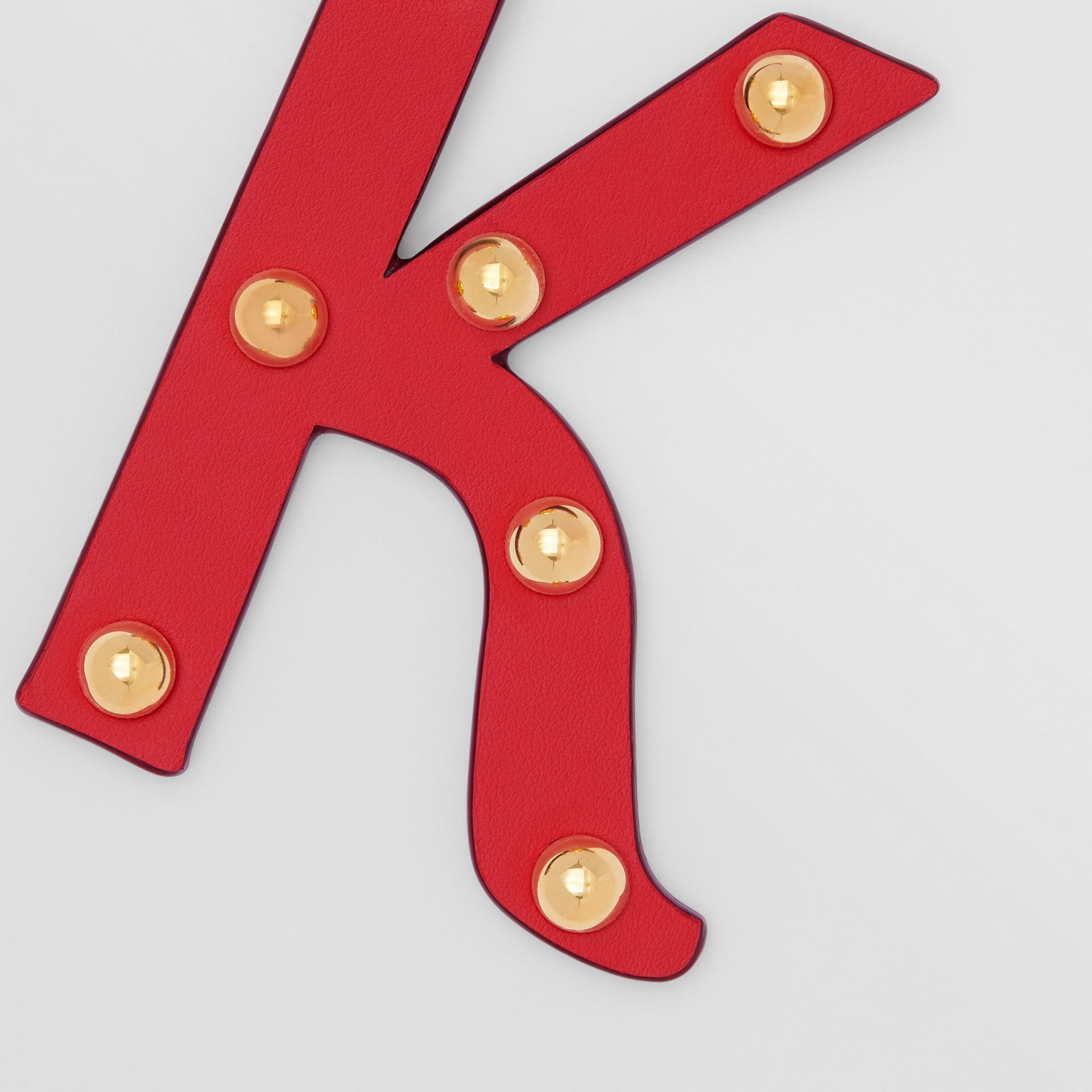 'K' Studded Leather Alphabet Charm in Red/light Gold | Burberry - gallery image 1
