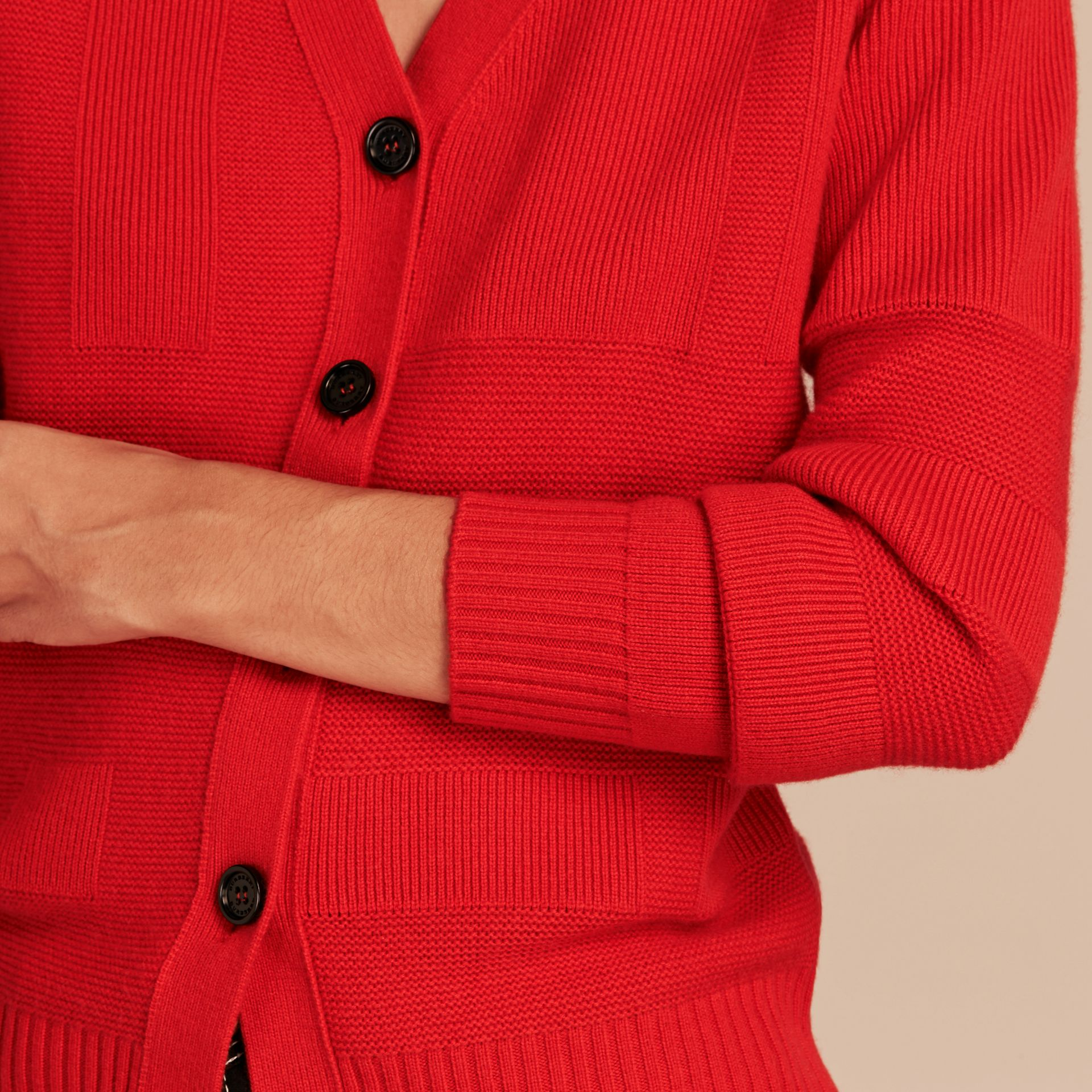 Check-knit Wool Cashmere Cardigan in Bright Military Red - gallery image 5