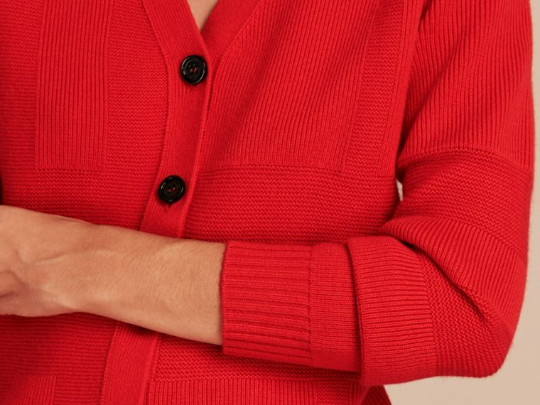 Check-knit Wool Cashmere Cardigan in Bright Military Red - cell image 4