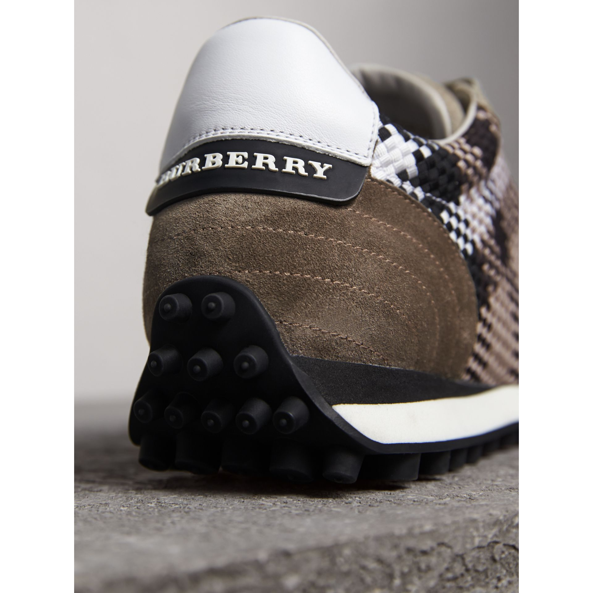 Woven Check Suede Trainers in Storm Grey - Men | Burberry United Kingdom - gallery image 4