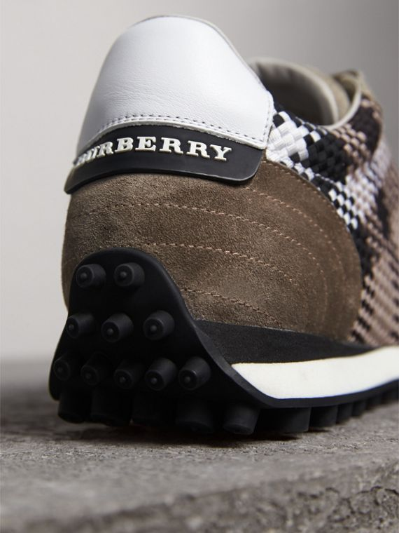 Woven Check Suede Trainers in Storm Grey - Men | Burberry - cell image 3