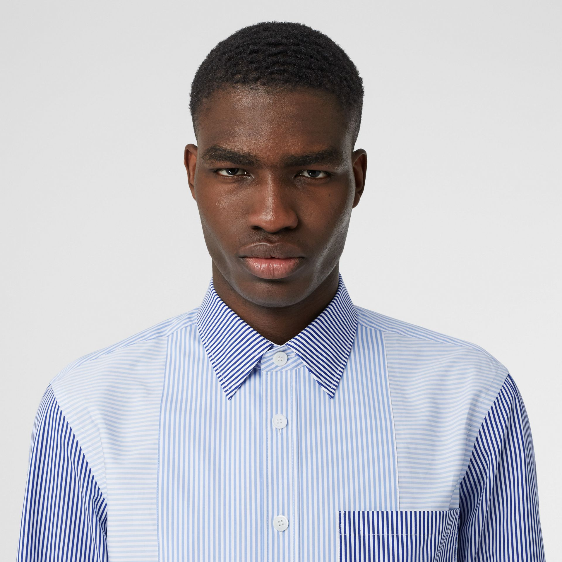 Classic Fit Patchwork Striped Cotton Shirt in Light Blue - Men | Burberry United Kingdom - gallery image 1