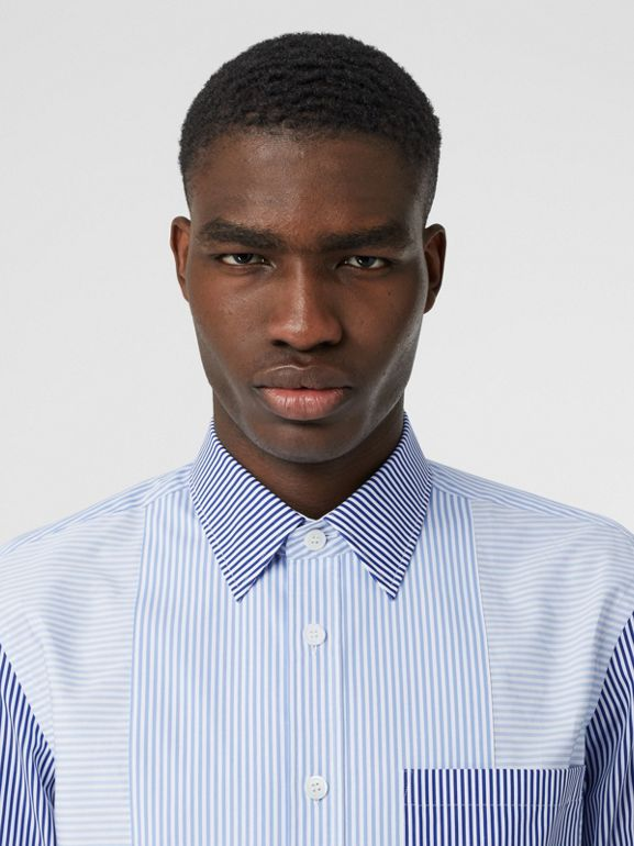 Classic Fit Patchwork Striped Cotton Shirt in Light Blue - Men | Burberry United Kingdom - cell image 1