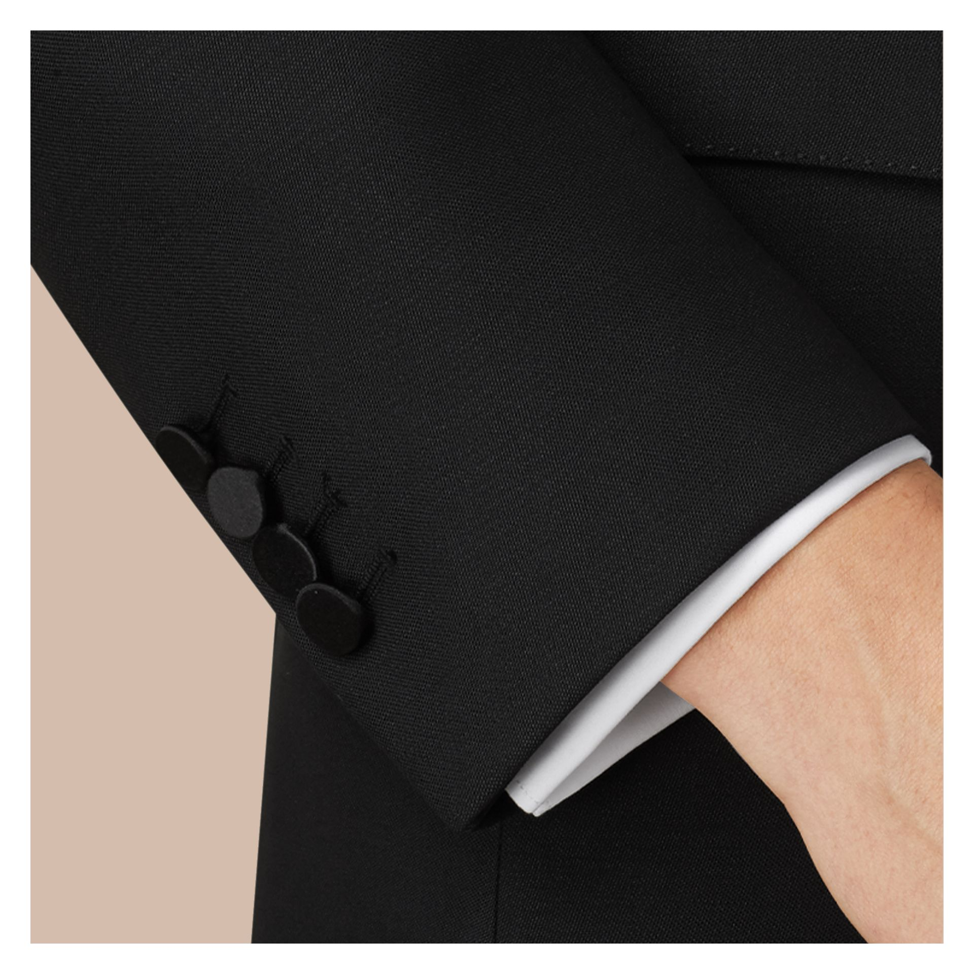 Black Slim Fit Wool Mohair Half-canvas Tuxedo - gallery image 2