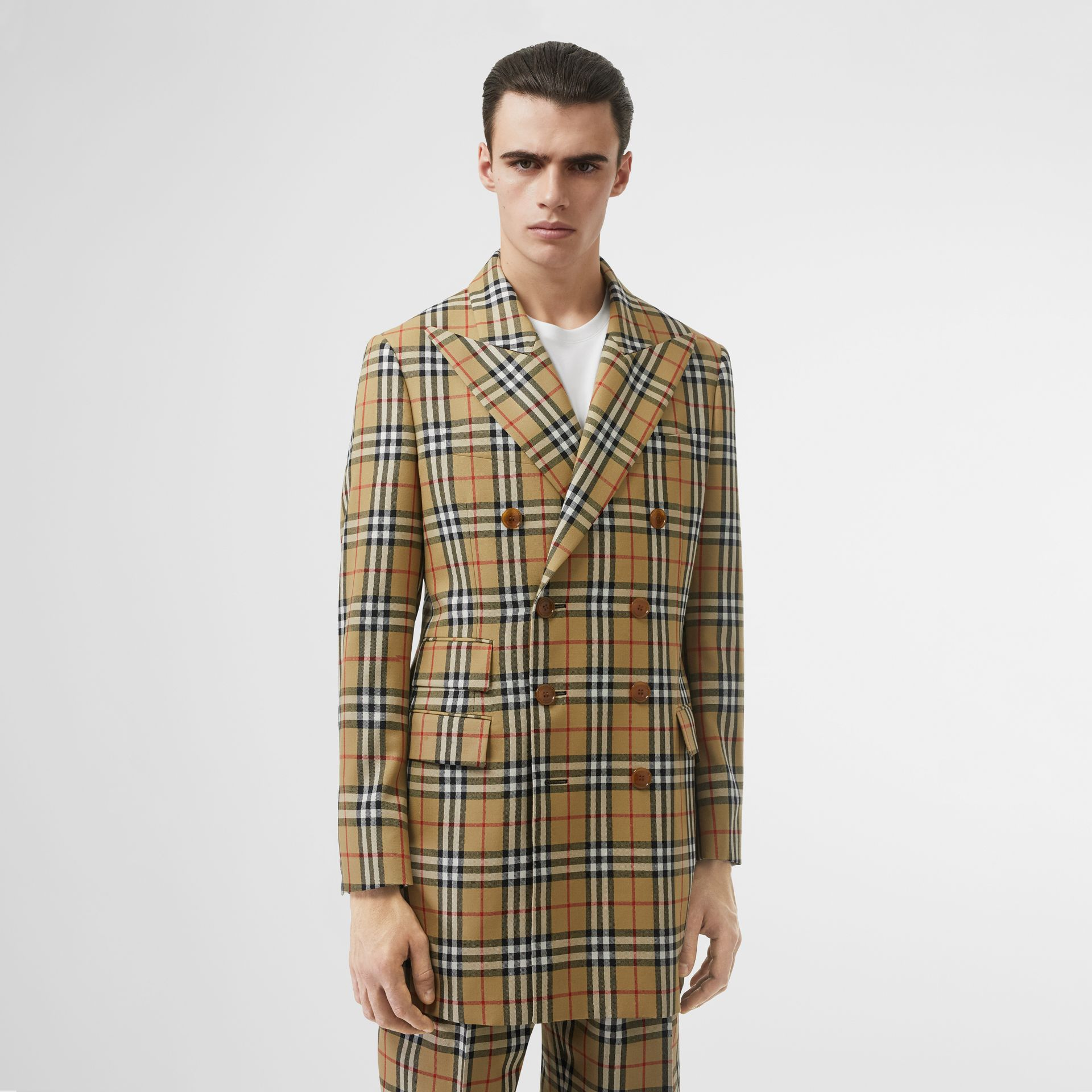Vintage Check Wool Double-breasted Jacket in Antique Yellow | Burberry Australia - gallery image 4