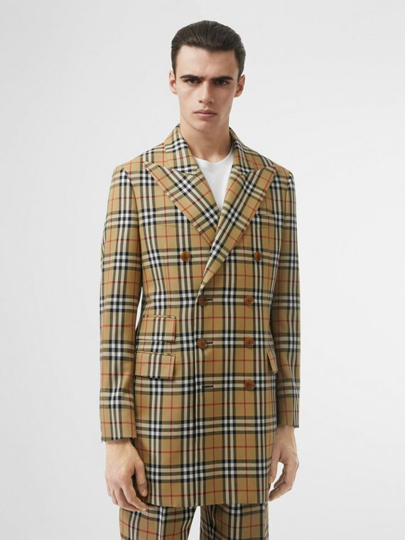 Vintage Check Wool Double-breasted Jacket in Antique Yellow