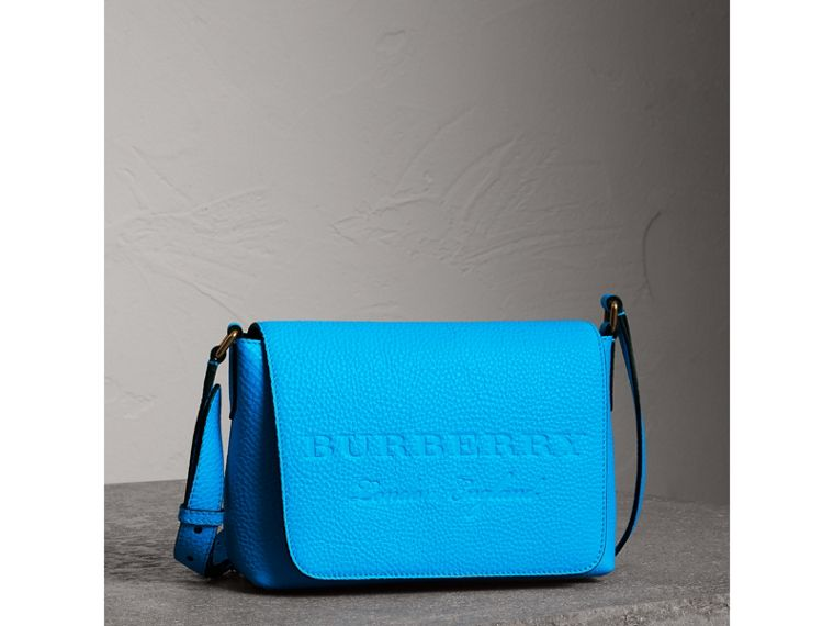 Small Embossed Neon Leather Messenger Bag in Blue | Burberry - cell image 4