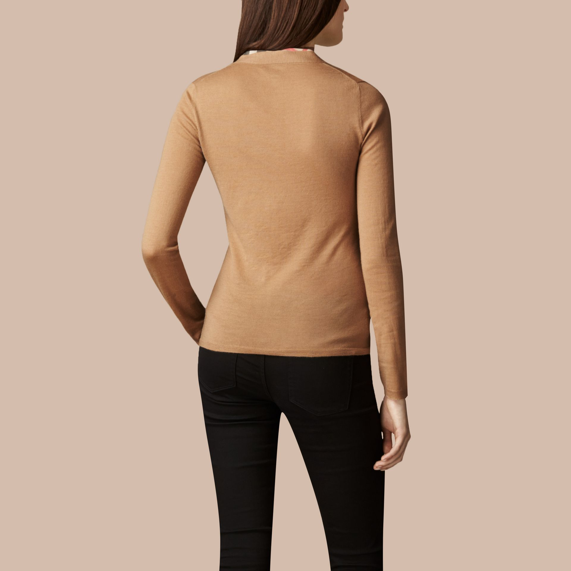 Check Placket Wool Cardigan in Camel - Women | Burberry - gallery image 3