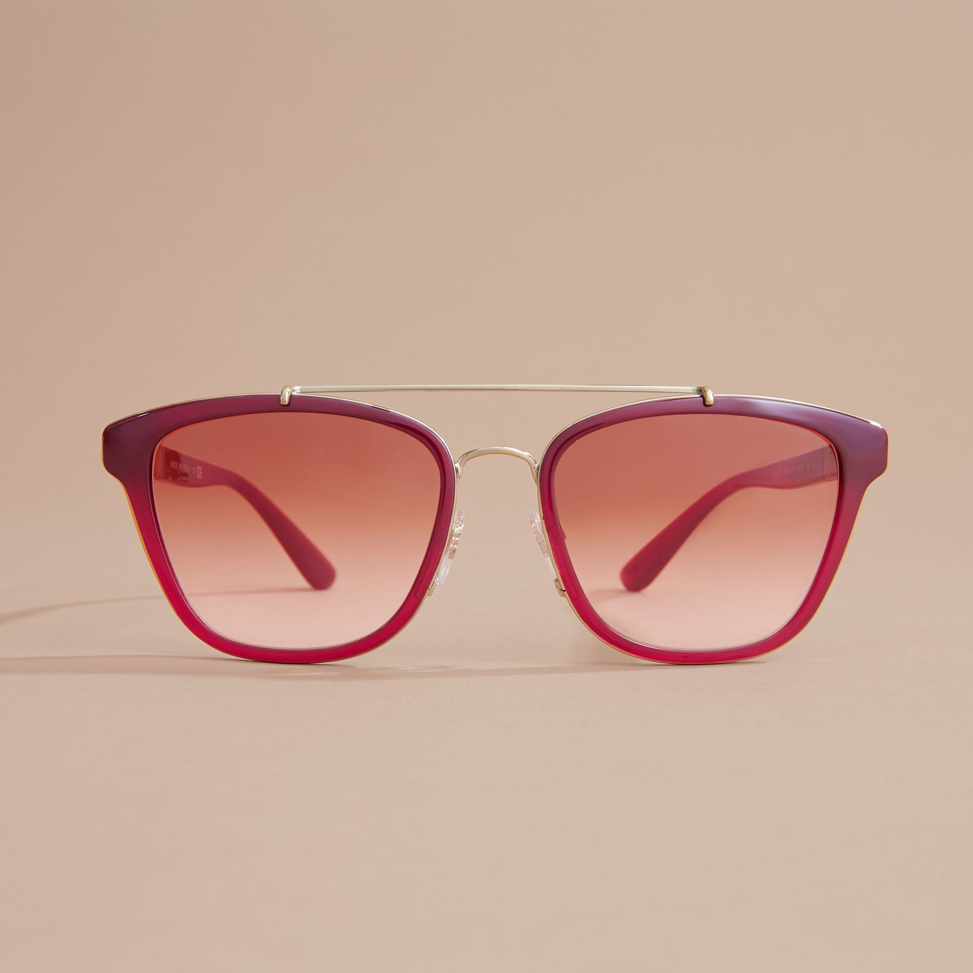 Top Bar Square Frame Sunglasses Red - gallery image 3