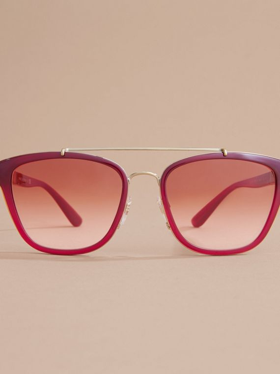 Top Bar Square Frame Sunglasses Red - cell image 2