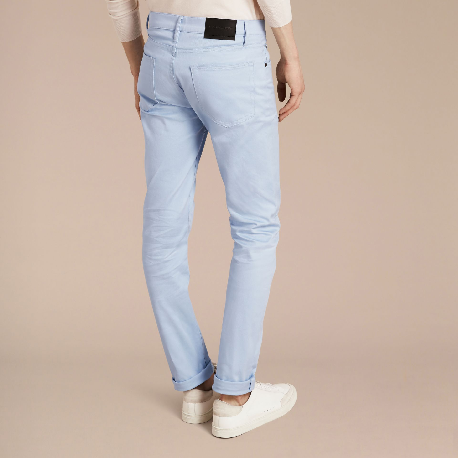 Light blue Slim Fit Japanese Stretch Denim Jeans Light Blue - gallery image 2