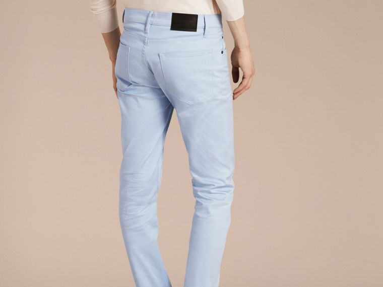 Light blue Slim Fit Japanese Stretch Denim Jeans Light Blue - cell image 1