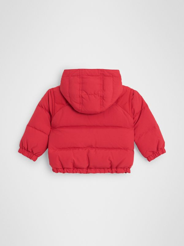 Down-filled Hooded Puffer Jacket in Bright Red | Burberry - cell image 3