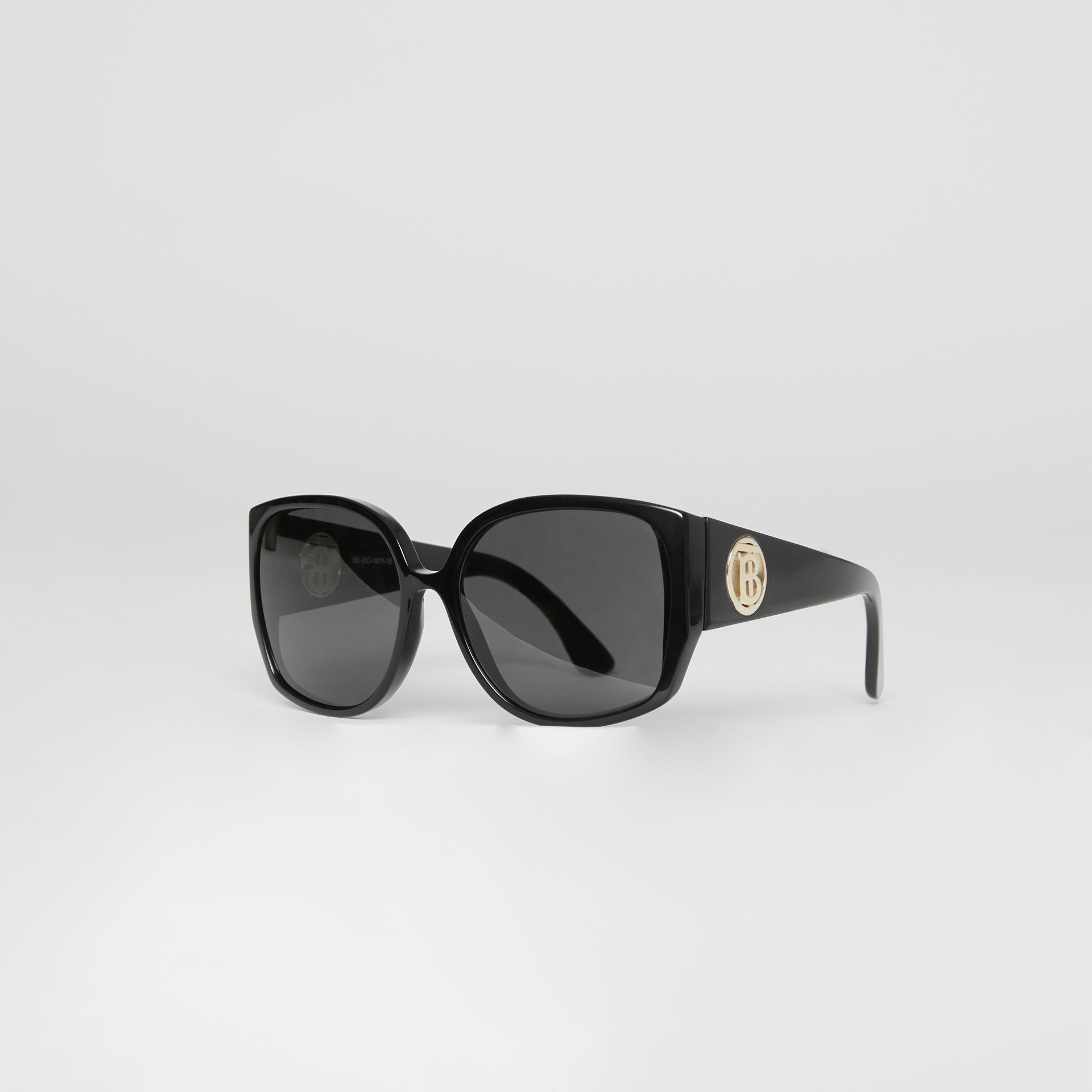 Monogram Detail Round Frame Sunglasses in Black - Women | Burberry - gallery image 3