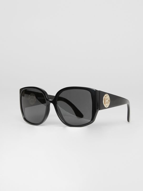 Monogram Detail Round Frame Sunglasses in Black - Women | Burberry - cell image 3