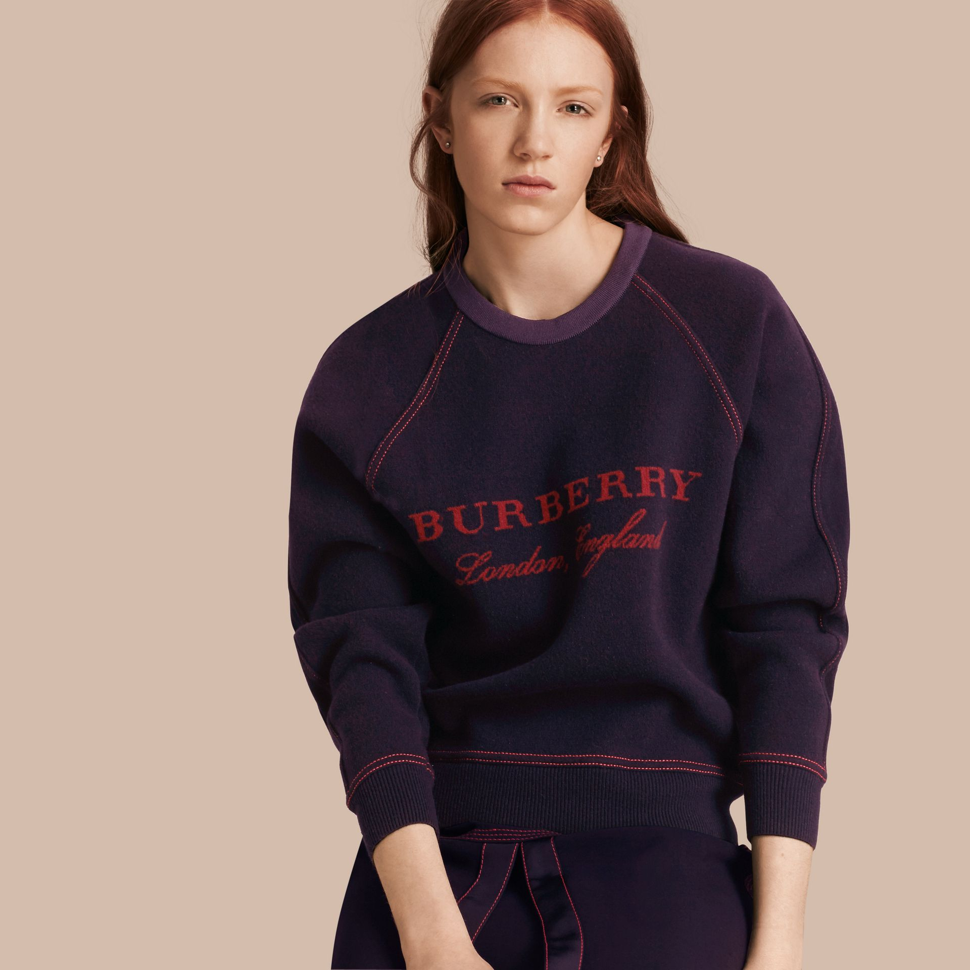 Navy/deep red Wool Cashmere Sculpted Sweatshirt Navy/deep Red - gallery image 1