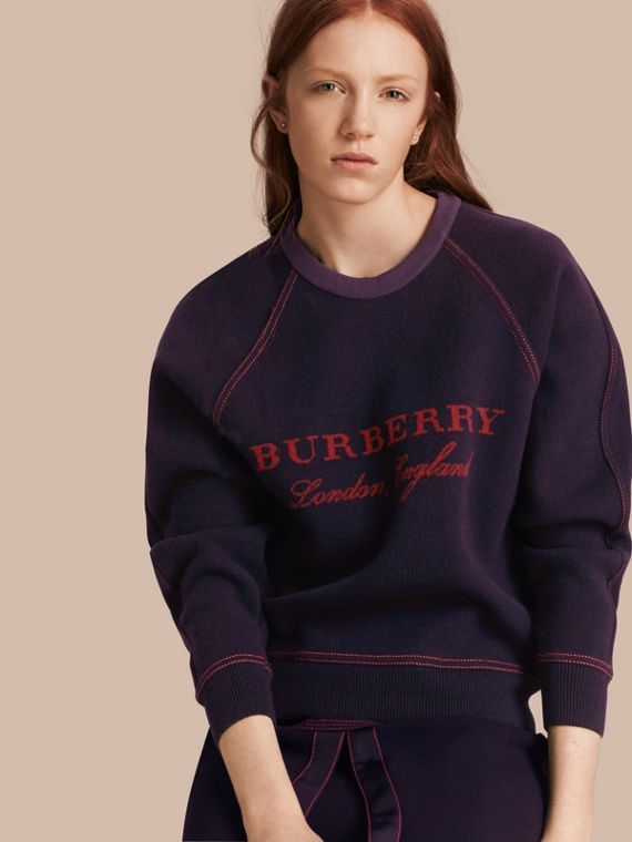 Wool Cashmere Sculpted Sweatshirt Navy/deep Red
