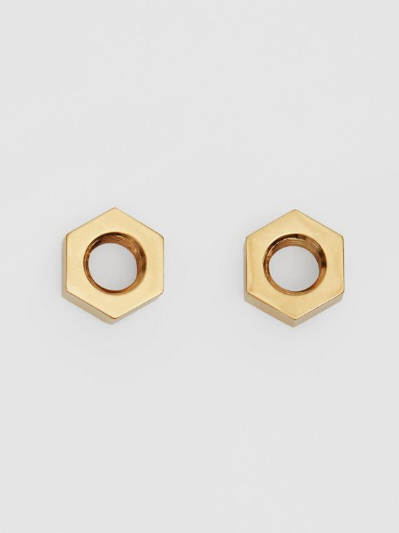 Gold-plated Nut Earrings in Light