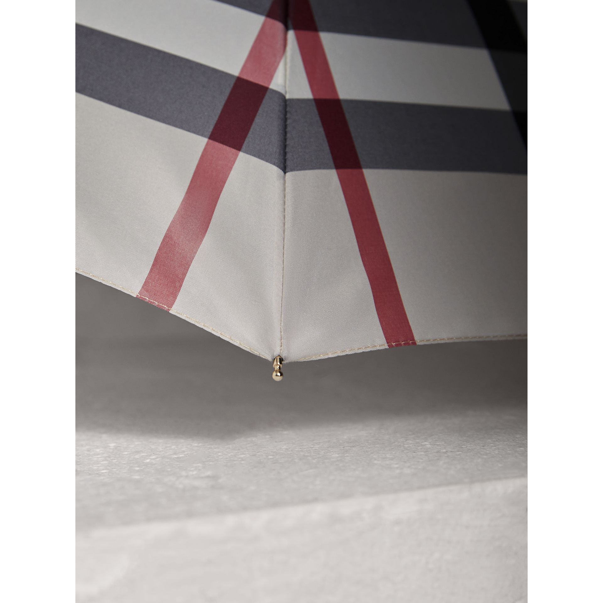 Check Folding Umbrella in Stone | Burberry - gallery image 3
