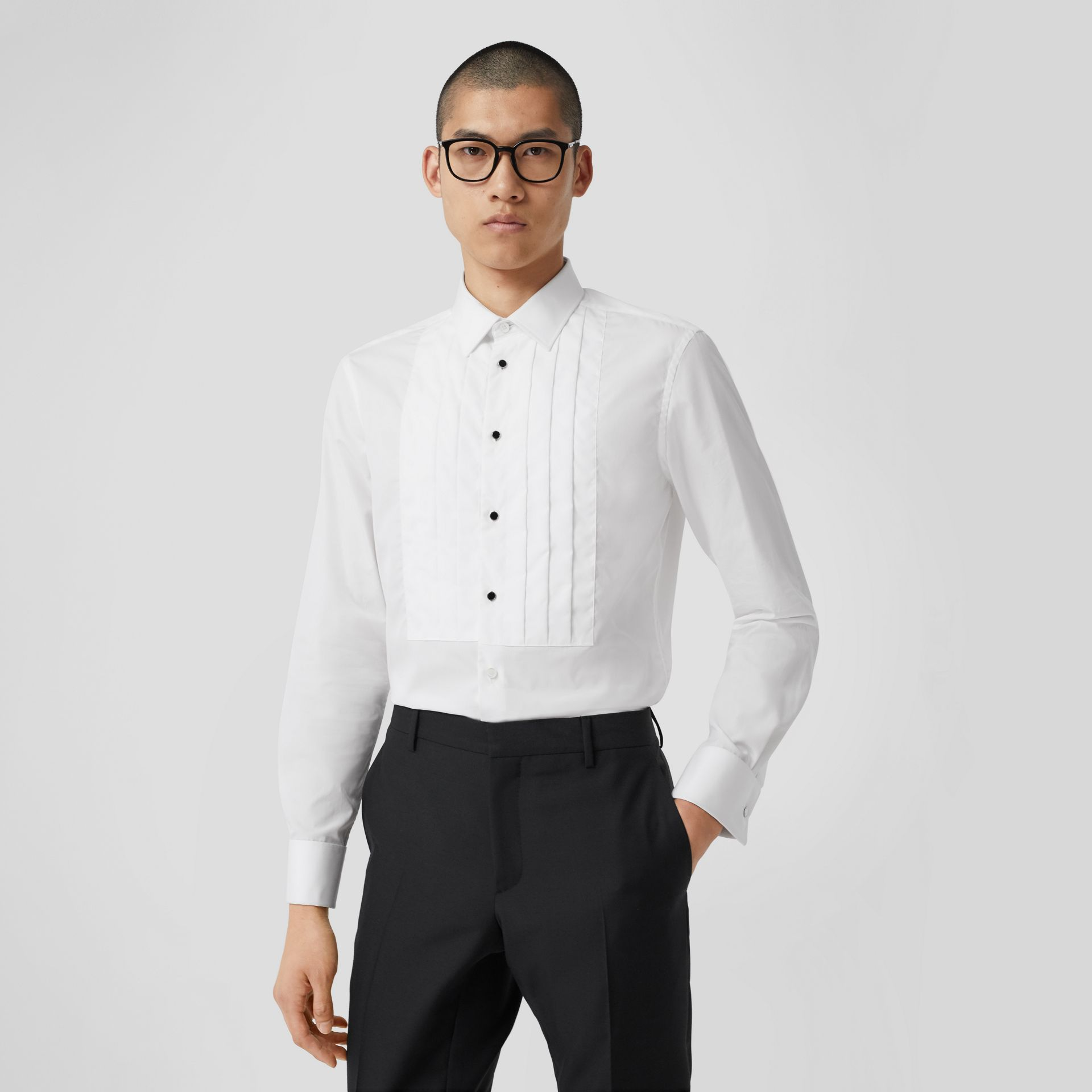 Pleated Bib Cotton Poplin Dress Shirt in Optic White - Men | Burberry - gallery image 6
