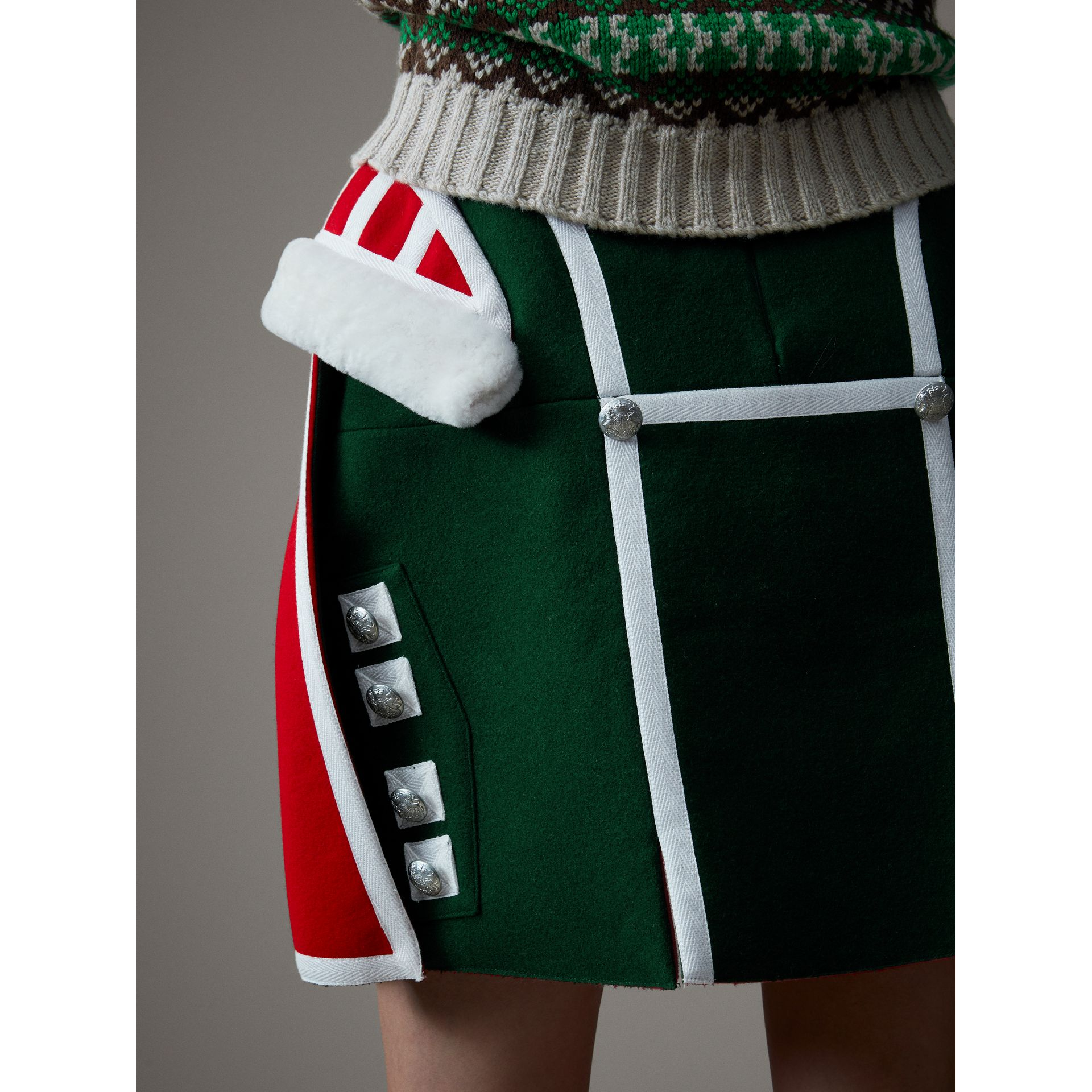 Shearling Trim Wool Ceremonial Skirt in Bottle Green - Women | Burberry - gallery image 1