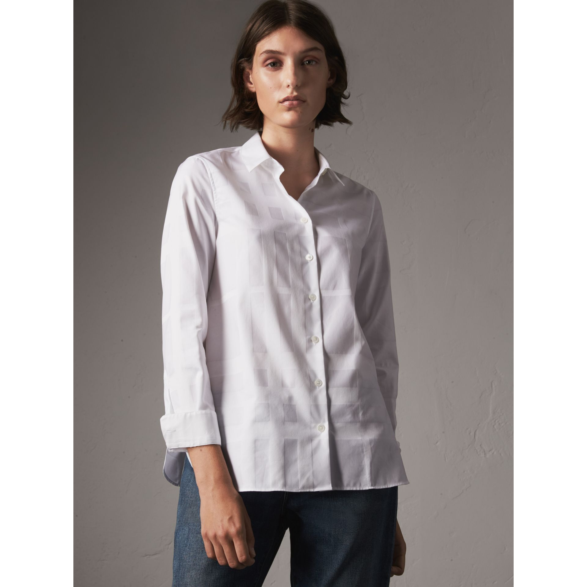 Check Jacquard Cotton Shirt in White - Women | Burberry Singapore - gallery image 5