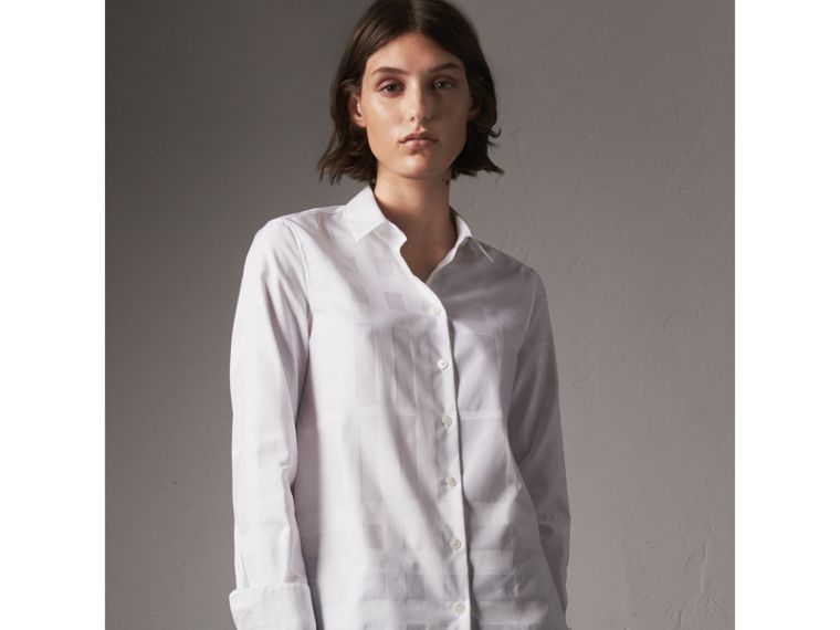Check Jacquard Cotton Shirt in White - Women | Burberry - cell image 4