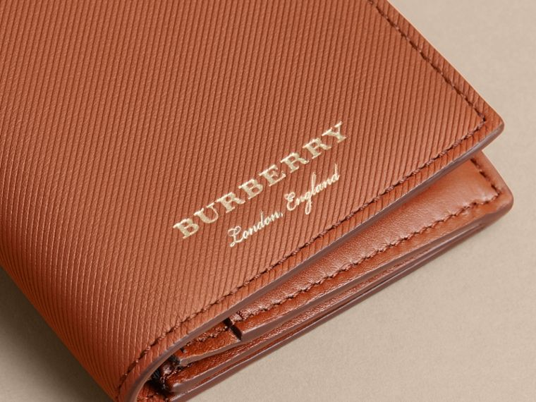 Trench Leather Continental Wallet in Tan - Men | Burberry - cell image 1