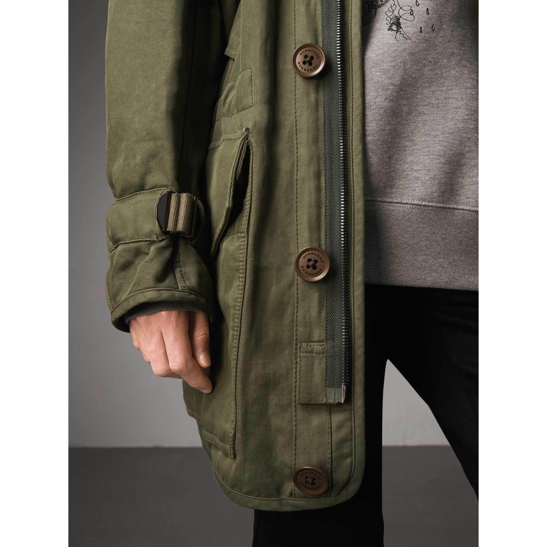 Shearling Collar Ramie Cotton Field Jacket in Olive - Men | Burberry - gallery image 5