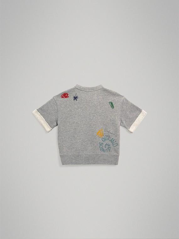 Short-sleeve Adventure Motif Cotton Jersey Sweatshirt in Grey Melange - Boy | Burberry - cell image 3
