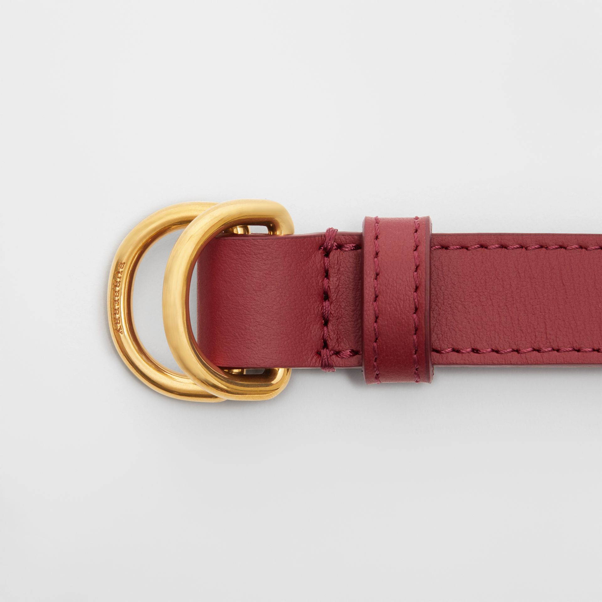 Slim Leather Double D-ring Belt in Crimson - Women | Burberry - gallery image 1