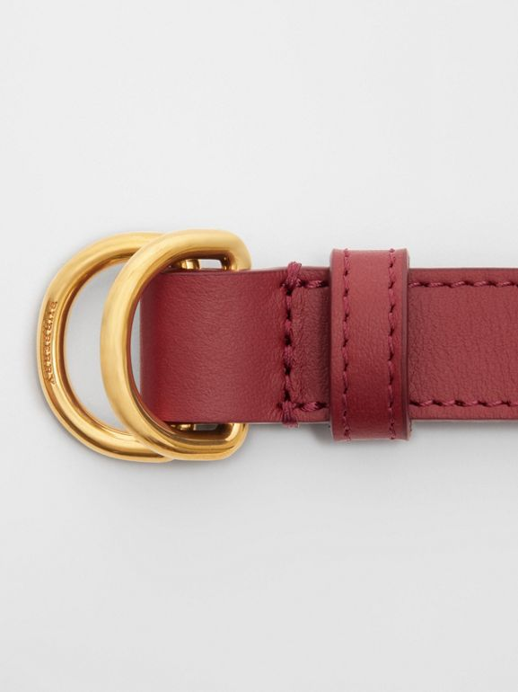 Slim Leather Double D-ring Belt in Crimson - Women | Burberry United Kingdom - cell image 1