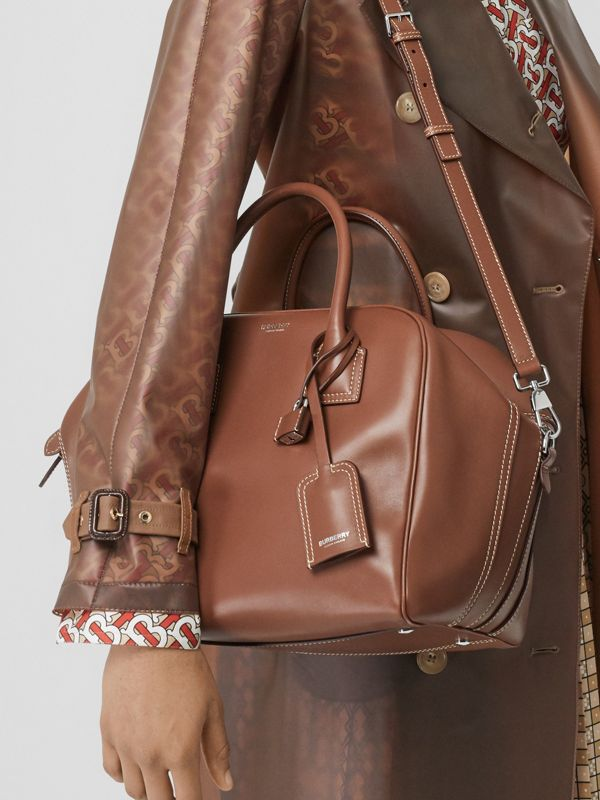 Medium Leather Cube Bag in Malt Brown - Women | Burberry - cell image 2