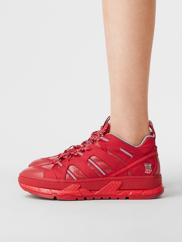 尼龍和皮革 Union 運動鞋 (亮紅色) - 女款   Burberry - cell image 2
