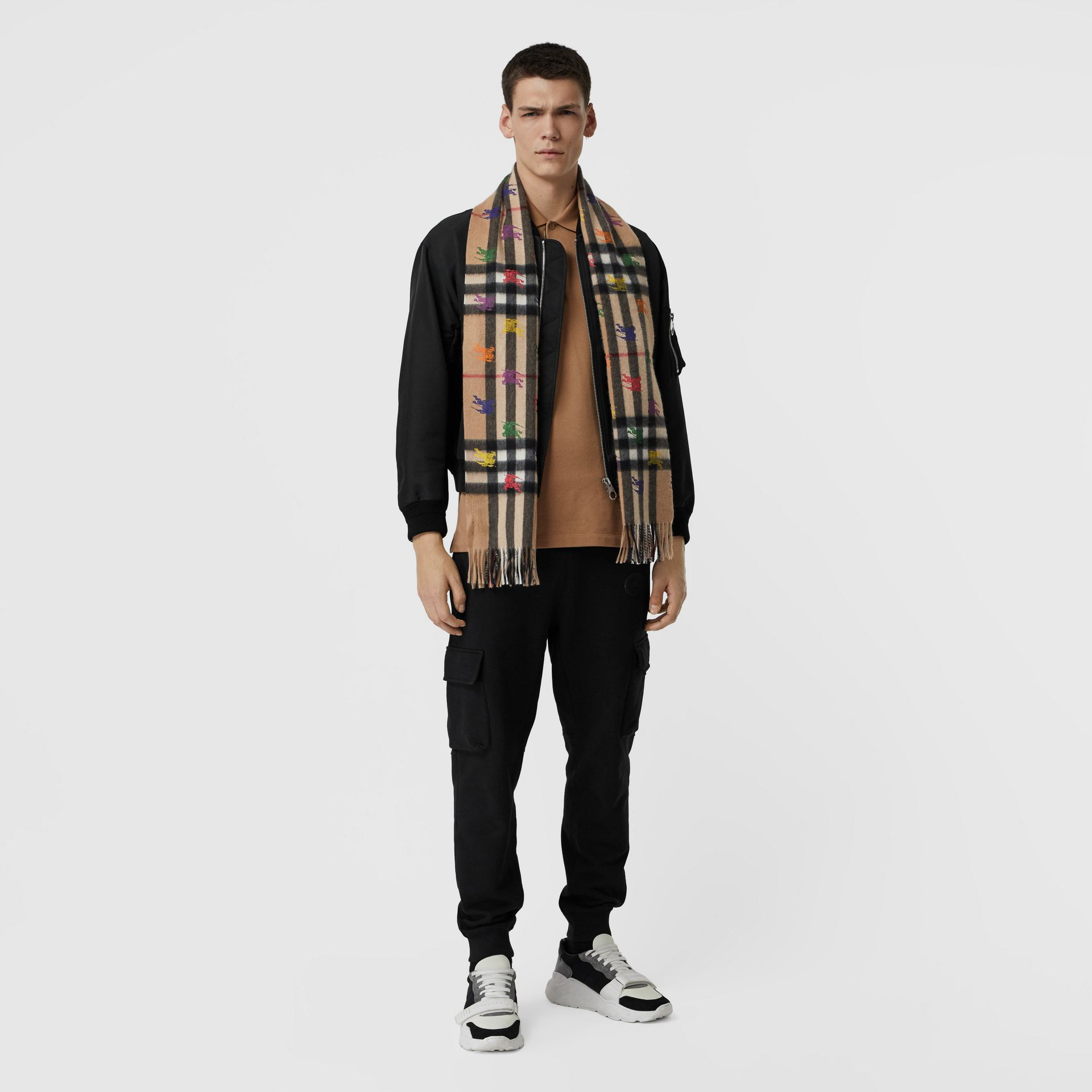 The Classic Check Cashmere Scarf in EKD Print in Camel | Burberry - gallery image 3