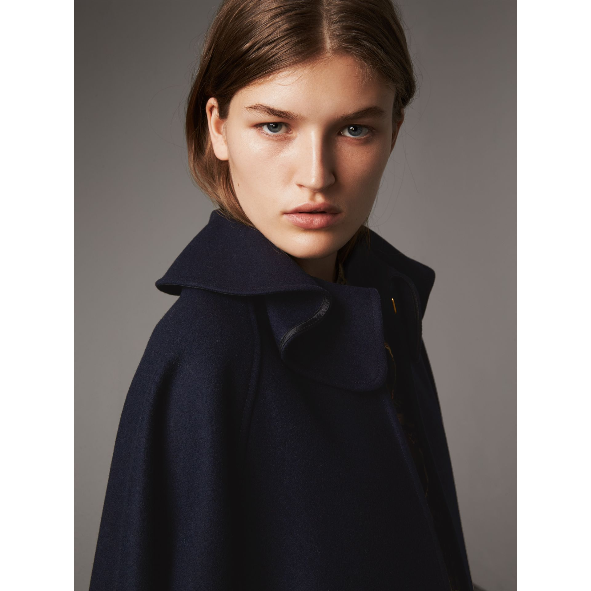Ruffle Collar Wool Cape in True Navy - Women | Burberry Canada - gallery image 1