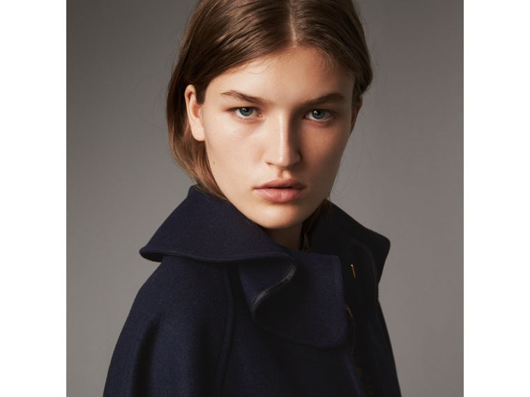 Ruffle Collar Wool Cape in True Navy - Women | Burberry - cell image 1