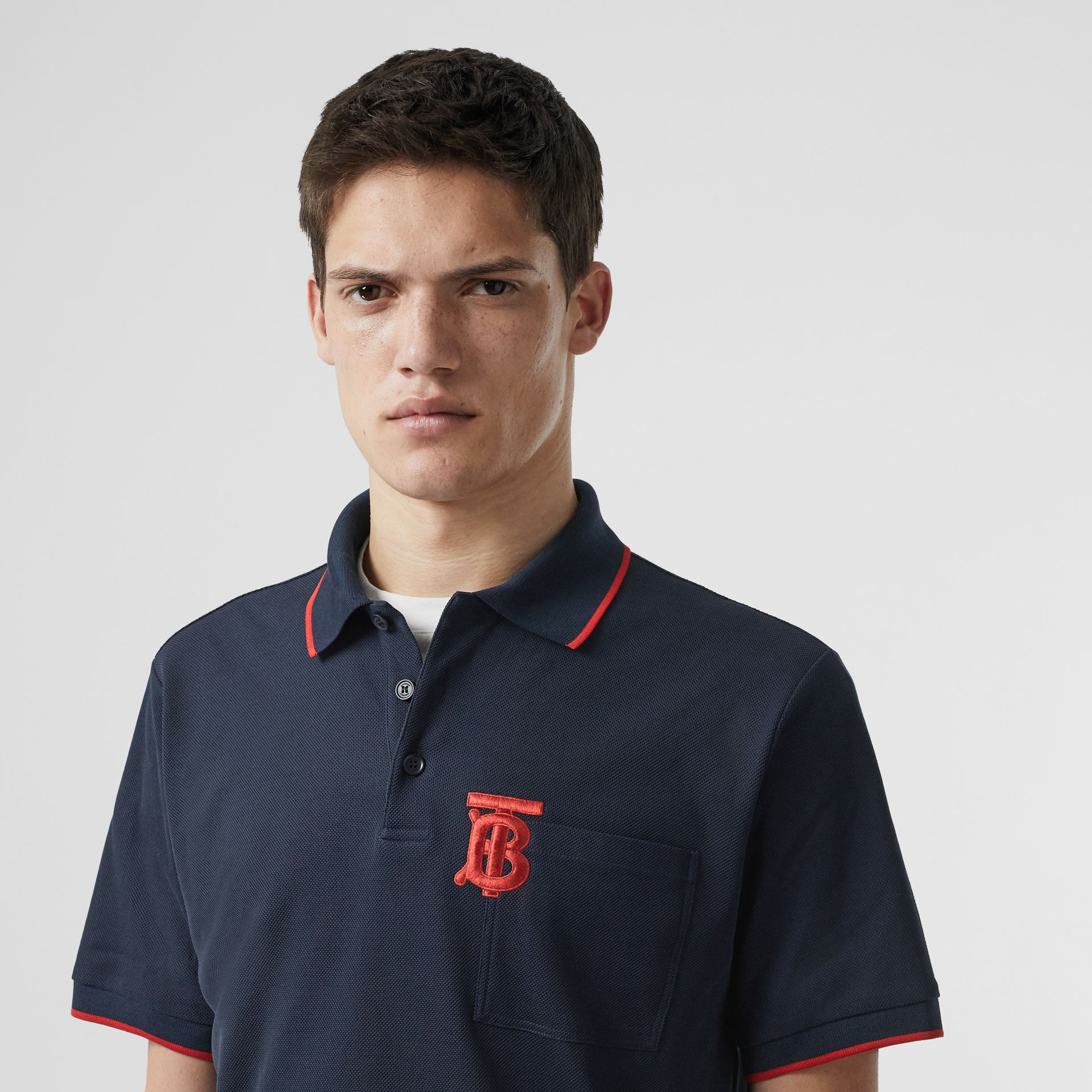 Monogram Motif Tipped Cotton Piqué Polo Shirt in Navy - Men | Burberry - gallery image 1