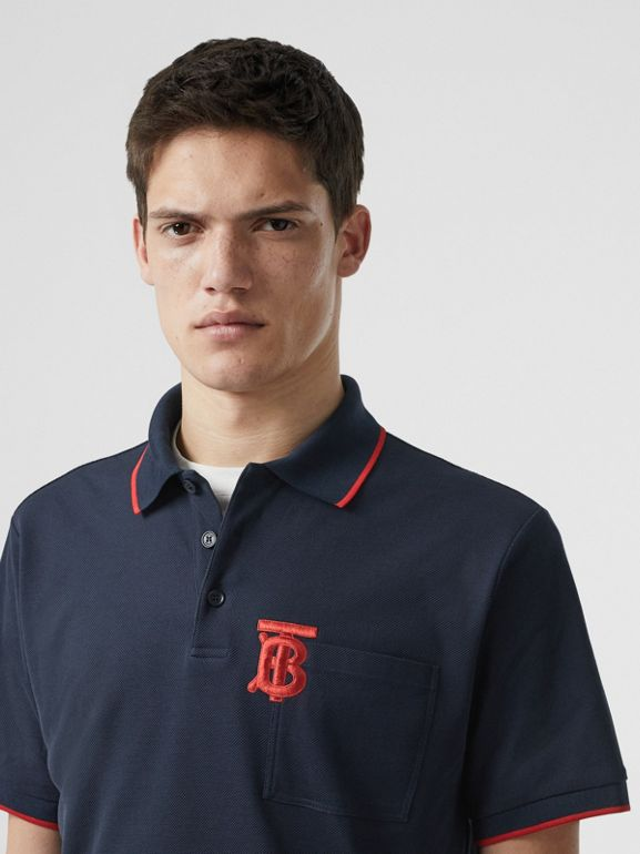 Monogram Motif Tipped Cotton Piqué Polo Shirt in Navy - Men | Burberry - cell image 1