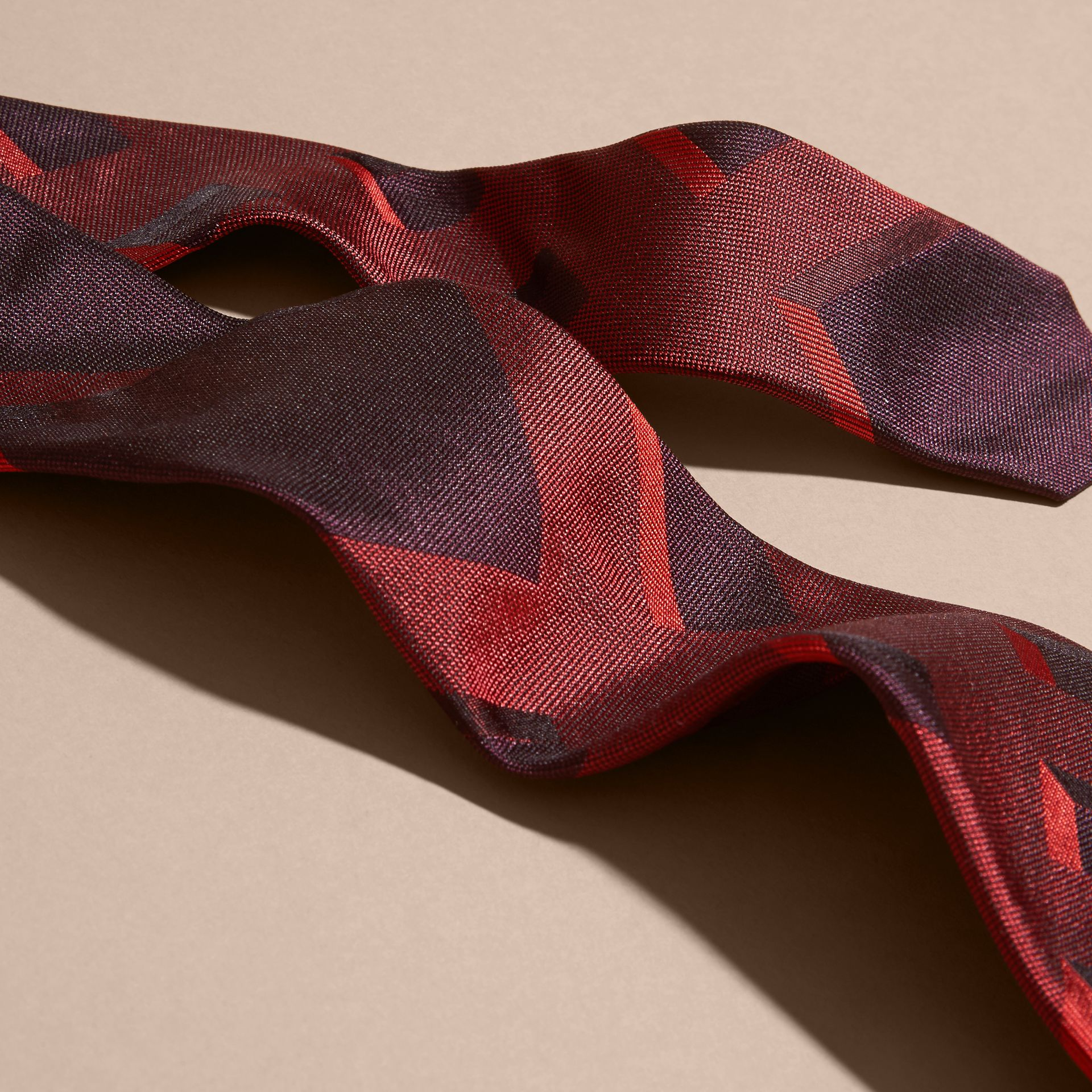 Military red Modern Cut Check Jacquard Silk Tie Military Red - gallery image 2