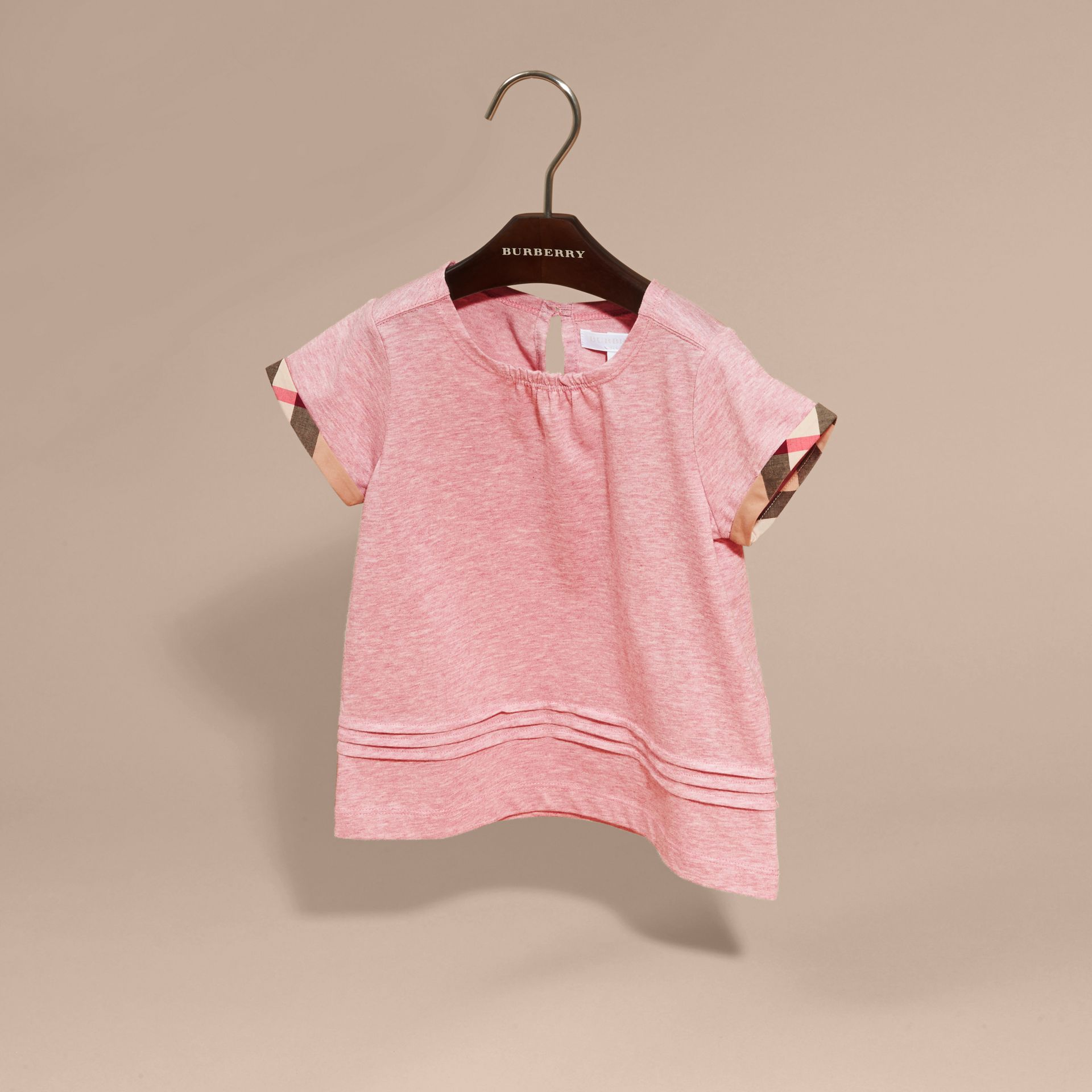 Pleat and Check Detail Cotton T-shirt in Light Copper Pink Melange - Girl | Burberry - gallery image 3