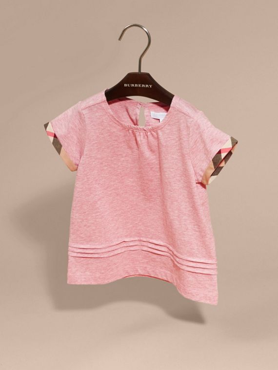 Pleat and Check Detail Cotton T-shirt in Light Copper Pink Melange - Girl | Burberry - cell image 2